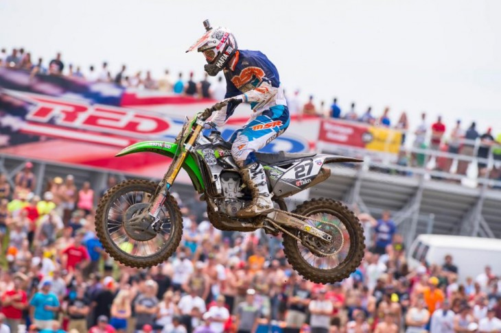 """Nick Wey in front of his fellow """"Michigan Mafia"""" fans at RedBud MX in 2014.Photo: Simon Cudby"""