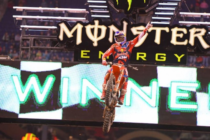 Dungey withstood a tough test from Roczen to earn his seventh win of the season. Photo Credit: Simon Cudby