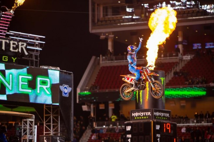 Dungey celebrates his sixth win of the 2016 season at Levi's Stadium. Photo Credit: Jeff Kardas