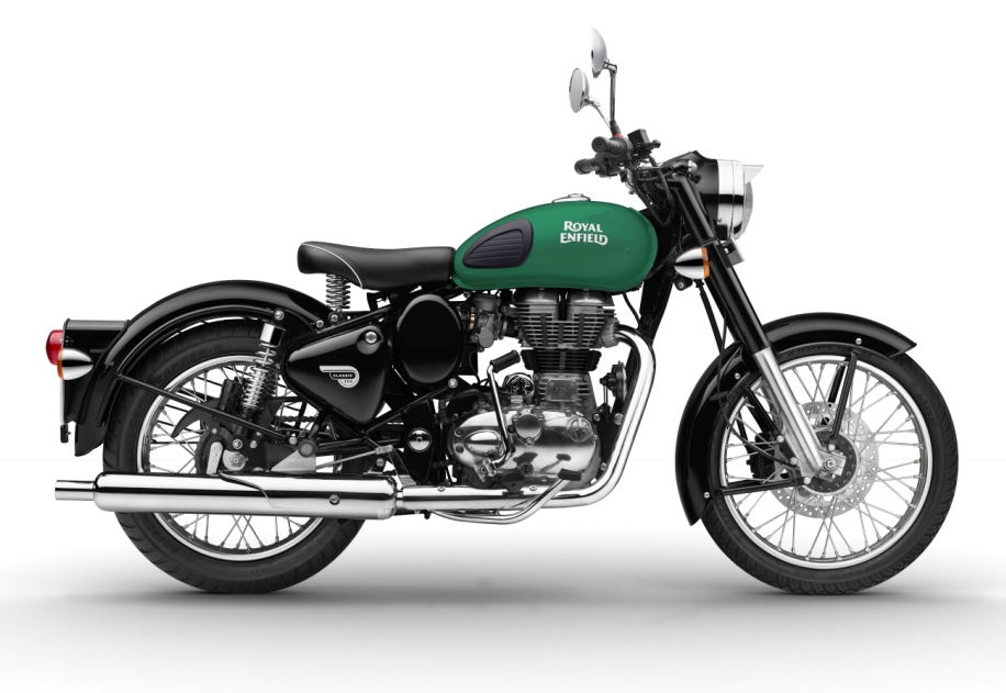 awaiting launch of 750cc twin royal enfield introduces new graphics for classic model. Black Bedroom Furniture Sets. Home Design Ideas