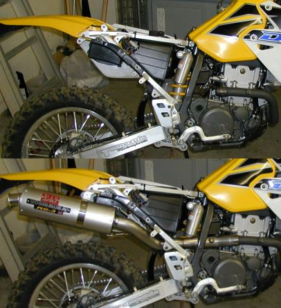 ><br /><b>(Top) DRZ400 with stock slip-on removed.<br />(Bottom)DRZ400 with Yoshimura Standard Slip On installed.</TR></td> </table> <p>Installation of the Yoshimura slip on was very straight forward.  The system comes with excellent directions, and the pipe is bent properly to fit perfectly with the stock header and bolt-on frame mounts.  All in all, removal of the side panels, stock system, and installation of the Yoshimura system took approximately one-half hour.  Of course, I tear apart a lot of dirt bikes (sometimes I think that's what I do for a living), so it might take you a little bit longer.  Nevertheless, the system fit perfectly.  We weren't done, however.</p> <p>With the freer-flowing exhaust system installed, we needed to re-jet the carburetor.  The Keihin carburetor comes stock with a No. 142 main jet installed.  At Yoshimura's suggestion, we installed a much-richer No. 165.  The carburetor is a tight fit, and it is difficult getting the carburetor removed and re-installed.  Once the carburetor is out of its boot, however, and you are able to rotate the bottom sufficiently to remove the cap under the float bowl, you can very easily access the main jet with a 6mm socket.</p> <p>We took the modified bike out for a long trail ride involving some fairly tight and technical trails with rocks and moderate hill climbs, thrown in with two motocross tracks we found along the trail.</p> <p>The first thing you notice about the modified bike, not surprisingly, is that it is much louder than the extremely quiet stock bike.  The noise level, however, is not unreasonable, and, in fact, is probably quieter than a stock Yamaha YZ400/426, for example.  The contrast is so noticeable simple because the stock pipe is one of the quietest four-stroke pipes around.</p> <p>The next thing you notice is the complete change in the power delivery.  The low end throttle response is dramatically different from stock.  With the Yoshimura slip on and re-jetting installed, the bike ab