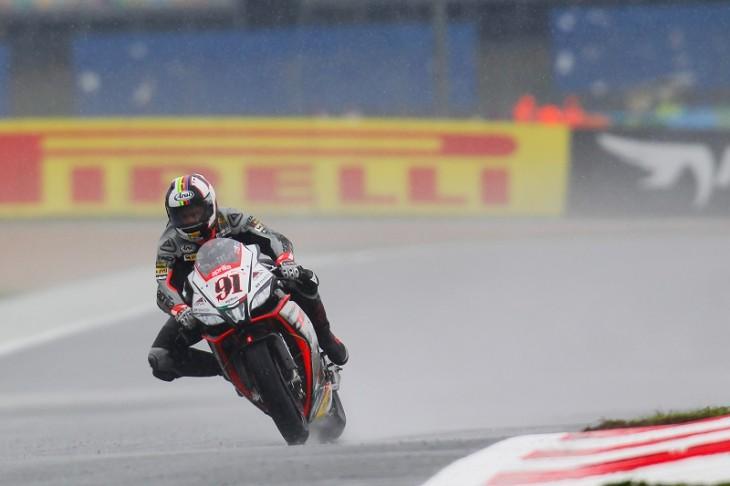The Aprilia rider on pole despite a late crash, Rea only 0.004s away in second.