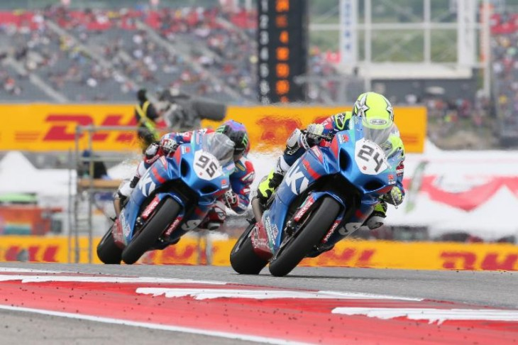 Spaniard Toni Elias did the double in the MotoAmerica Superbike Championship of Texas at COTA, beating his Yoshimura Suzuki teammate Roger Hayden to the flag on Sunday. The pair were this close for most of the race. Photography by Brian J. Nelson.