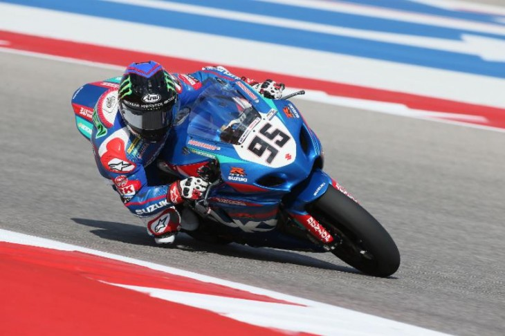 Yoshimura Suzuki's Roger Hayden earned the fourth Superbike pole of his career on Friday at Circuit of The Americas. Photography by Brian J. Nelson.