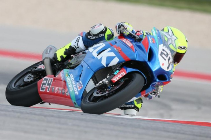 Fresh off his two wins at Circuit of The Americas last weekend, Spaniard Toni Elias leads the MotoAmerica Superbike Championship coming into the Suzuki Superbike Shootout of Georgia. Photography by Brian J. Nelson.